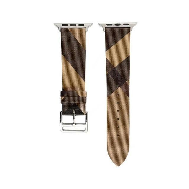 Watchbands Brown / for 38mm apple watch Plaid Pattern Leather strap For Apple Watch band 4 5 44/40mm women/men watches Bracelet bands For iwatch series 3 2 1 42/38mm