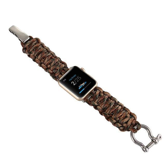 Watchbands Camouflage 2 / 38mm / 40mm Apple Watch Paracord nylon band, Handmade men army sport strap 5 4 3  44mm 40mm 42mm 38mm, millitary Survival Rope Metal Bolt Clasp