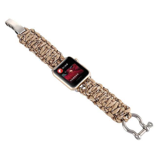 Watchbands Camouflage 4 / 38mm / 40mm Apple Watch Paracord nylon band, Handmade men army sport strap 5 4 3  44mm 40mm 42mm 38mm, millitary Survival Rope Metal Bolt Clasp