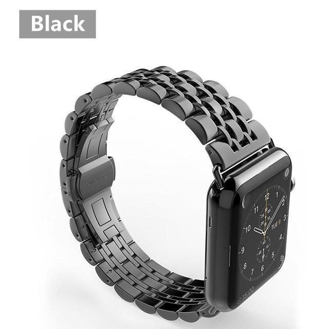 Watchbands China / black band case / 38mm case+Strap For Apple Watch band 42mm 38mm apple watch 4 3 5 iwatch band correa Stainless Steel pulseira Butterfly watchband