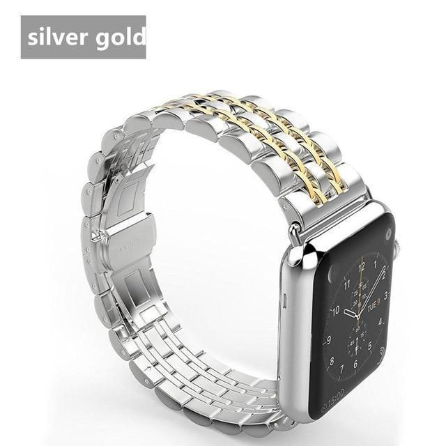 Watchbands China / Gold band case / 38mm case+Strap For Apple Watch band 42mm 38mm apple watch 4 3 5 iwatch band correa Stainless Steel pulseira Butterfly watchband
