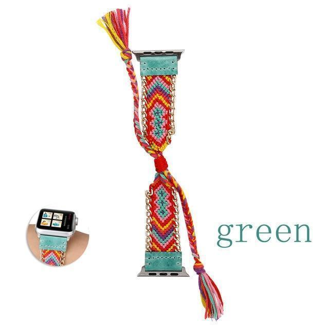 Watchbands China / Green / 38mm or 40mm Handmade friendship Braided rope strap for Apple watch band 44mm 40mm 42mm 38mm bracelet watchbands fits iwatch series 5 4 3 2