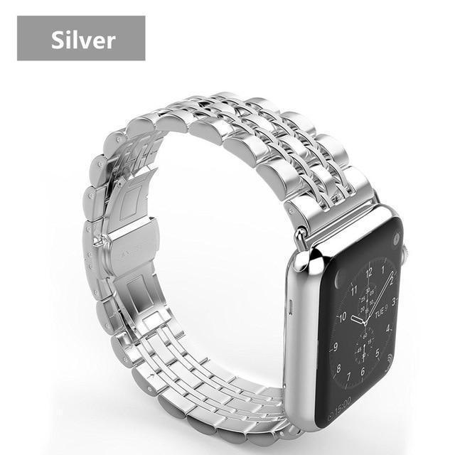 Watchbands China / Silver band case / 38mm case+Strap For Apple Watch band 42mm 38mm apple watch 4 3 5 iwatch band correa Stainless Steel pulseira Butterfly watchband