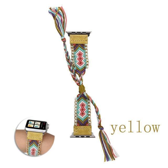 Watchbands China / Yellow / 38mm or 40mm Handmade friendship Braided rope strap for Apple watch band 44mm 40mm 42mm 38mm bracelet watchbands fits iwatch series 5 4 3 2