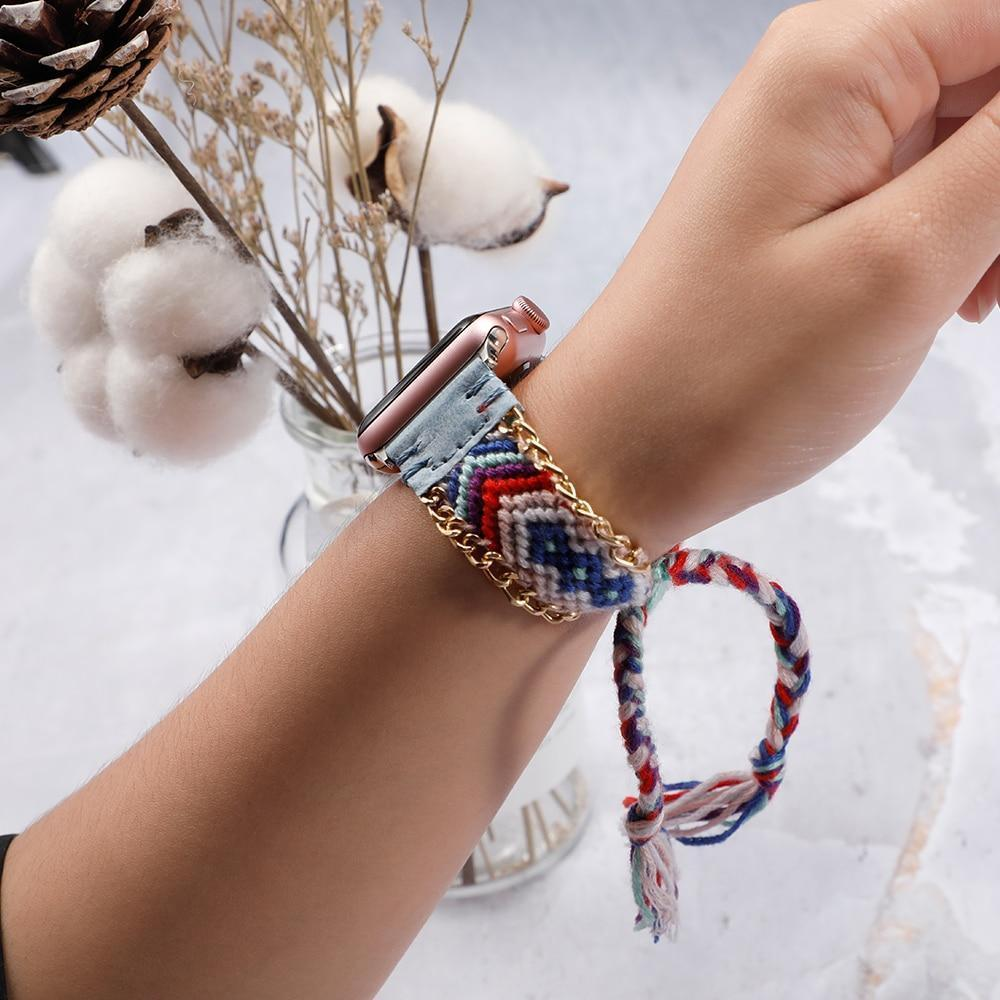 Watchbands Handmade friendship Braided rope strap for Apple watch band 44mm 40mm 42mm 38mm bracelet watchbands fits iwatch series 5 4 3 2