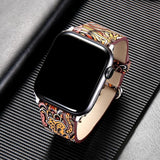 Watchbands leather strap for apple watch band 42mm 38mm 44mm 40mm correa Printing flower bracelet watchband for iwatch pulseira 5/4/3/2/1