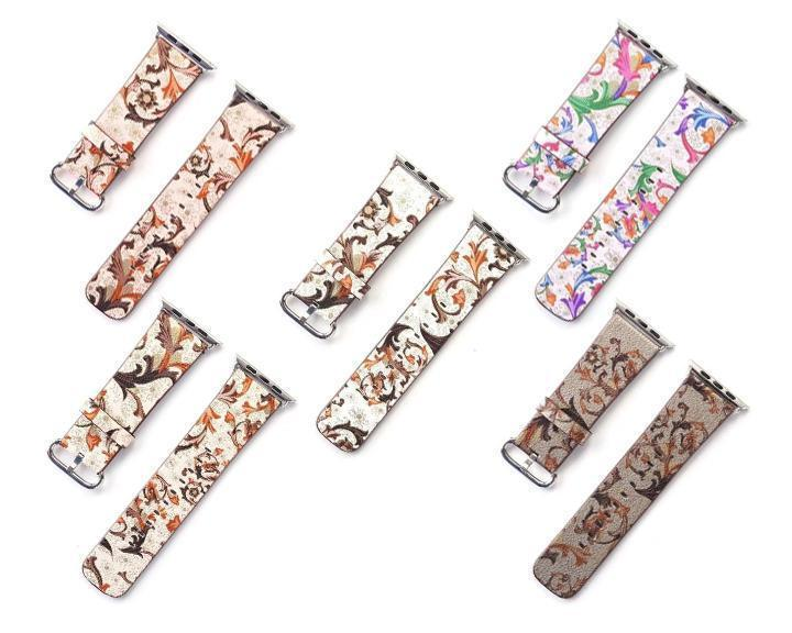 Watchbands Leather strap For Apple Watch  band apple watch 5 4 3 2 1 band 44mm/40mm correa iwatch band 42mm/38mm Floral Printed  Bracelet belt