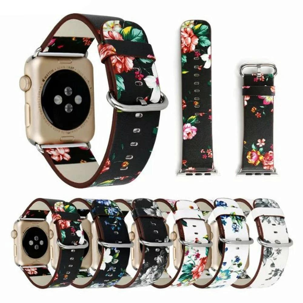 Watchbands Leather strap For Apple Watch  band apple watch 5 4 3 band 44mm/40mm correa iwatch band 42mm/38mm Floral Printed  Bracelet belt