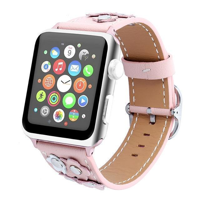Watchbands Pink / 38mm/40mm Leather strap For Apple watch band apple watch 4 3 band 42mm/44mm 38mm/40mm correa iwatch band stainless steel belt bracelet
