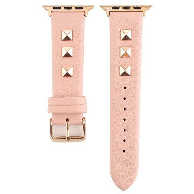 Watchbands Pink / 42mm or 44mm Apple watch band Rose Gold Metal Rivet Leather Sport Strap For iWatch series 5 4 3 2 1 44mm 42mm 40mm 38mm