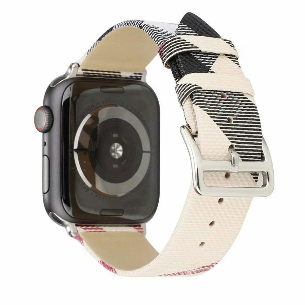 Watchbands Plaid Pattern Leather strap For Apple Watch band 4 5 44/40mm women/men watches Bracelet bands For iwatch series 3 2 1 42/38mm
