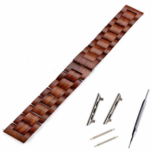 Watchbands Red brown band / blackk adapter / 38mm Natural Wood Watch Bracelet for Apple Watch Band 38/42mm Luxury Watch Accessories for IWatch Strap Watchband with Adapters