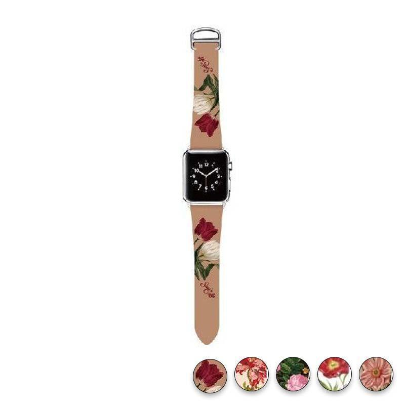 watches Antique Rose / 38mm/40mm Original Design Trend Print Leather Band for iwatch Strap Series 1 2 3 4 Flower Design Wrist Watch Bracelet for Apple Watch Band 44mm/ 40mm/ 42mm/ 38mm