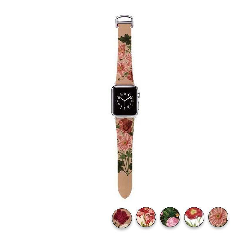 watches Antique Wildflower / 38mm/40mm Original Design Trend Print Leather Band for iwatch Strap Series 1 2 3 4 Flower Design Wrist Watch Bracelet for Apple Watch Band 44mm/ 40mm/ 42mm/ 38mm