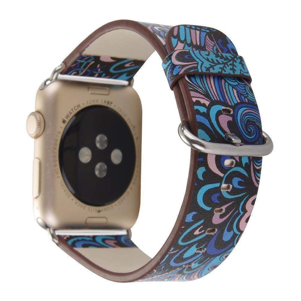 watches Apple Floral flower watch band, Print Smart iWatch strap, 44mm, 40mm, 42mm, 38mm, Series 1 2 3 4
