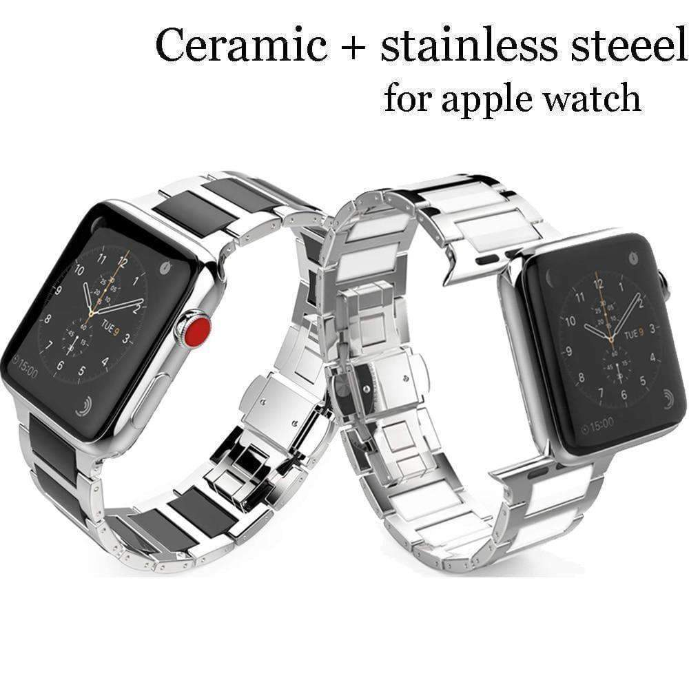 Watches Apple Watch Series 5 4 3 2 Band, Ceramic Stainless Steel link Strap 38mm, 40mm, 42mm, 44mm - US Fast Shipping