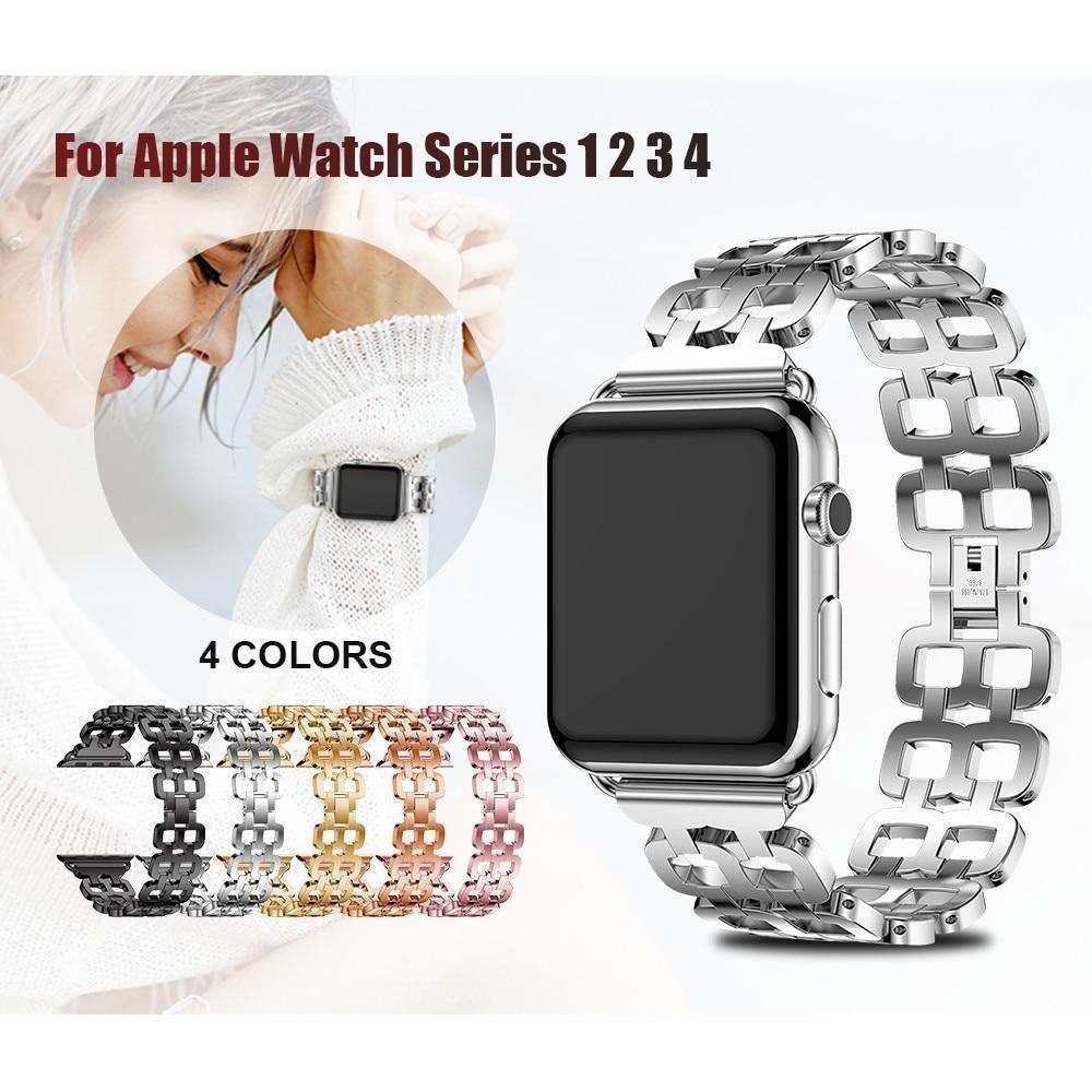 Watches Apple Watch Series 5 4 3 2 Band, Luxury Metal Strap stainless Steel Link Bracelet Wrist Bands 38mm, 40mm, 42mm, 44mm - US Fast Shipping