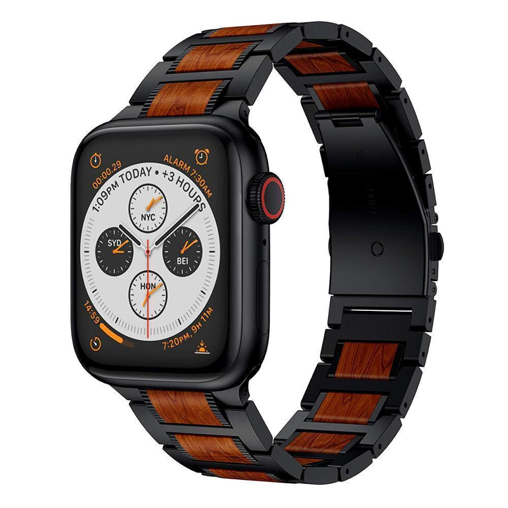 Watches Apple Watch Series 5 4 3 2 Band, Natural Red Sandalwood Stainless Steel Bracelet Wooden Strap 38mm, 40mm, 42mm, 44mm - US Fast shipping