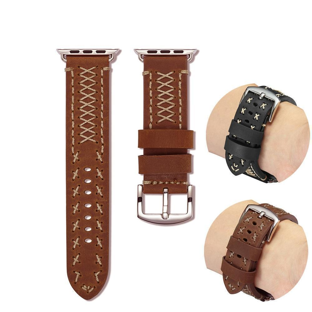 Watches Apple Watch Series 5 4 3 2 Band, Vintage Handmade Genuine Leather Strap Thread Bracelet 38mm, 40mm, 42mm, 44mm