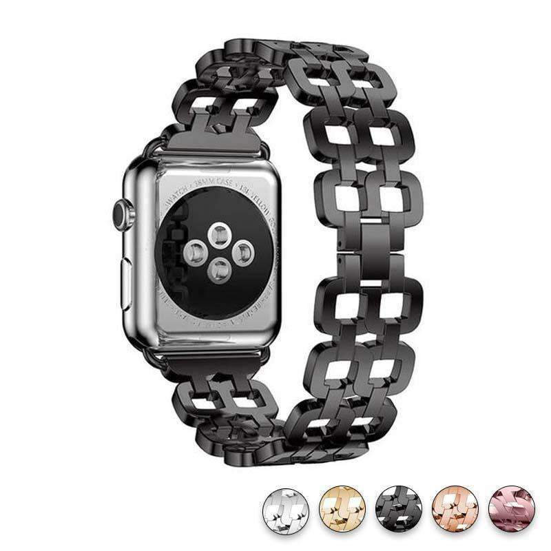 Watches Black / 38mm / 40mm Apple Watch Series 5 4 3 2 Band, Luxury Metal Strap stainless Steel Link Bracelet Wrist Bands 38mm, 40mm, 42mm, 44mm - US Fast Shipping