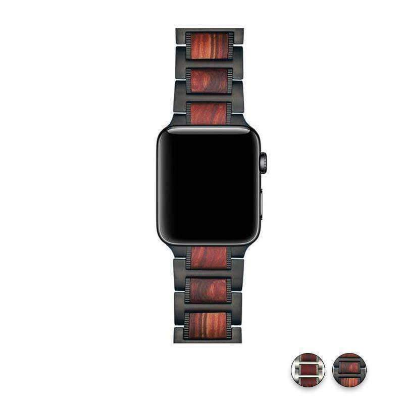 Watches Black / 38mm / 40mm Apple Watch Series 5 4 3 2 Band, Natural Red Sandalwood Stainless Steel Bracelet Wooden Strap 38mm, 40mm, 42mm, 44mm - US Fast shipping