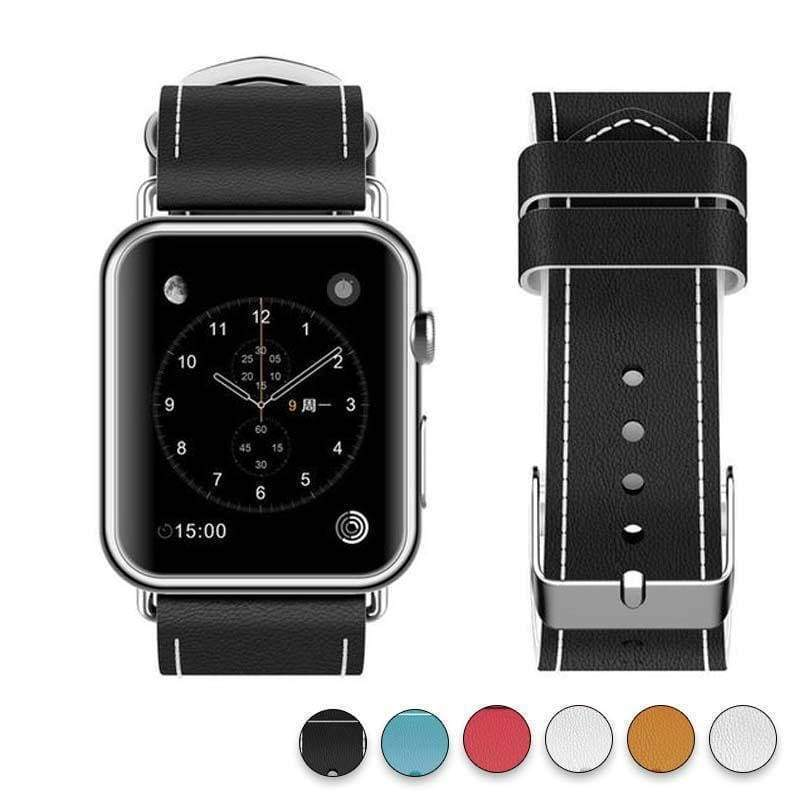 Watches Black / 38mm/40mm New Fashion Watchband for Apple Watch Band 44mm/ 40mm/ 42mm/ 38mm Watchband Genuine Leather Belt for Iwatch Series 1 2 3 4 Strap Leather