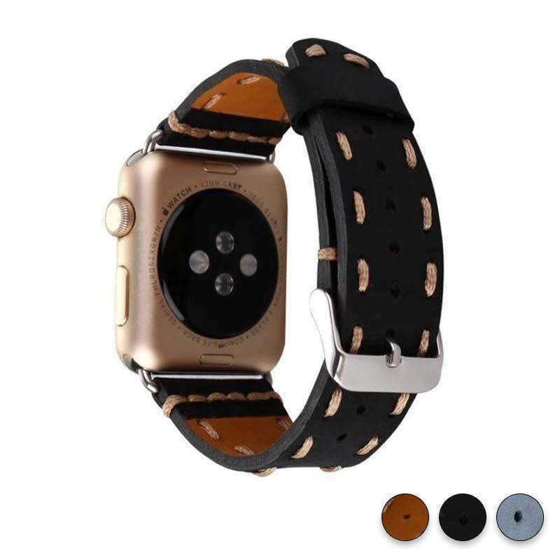 Watches Black / 38mm / 42mm Apple Watch Series 5 4 3 2 Band, Handmade Vintage tooled Genuine Leather Strap 38mm, 40mm, 42mm, 44mm - US Fast Shipping