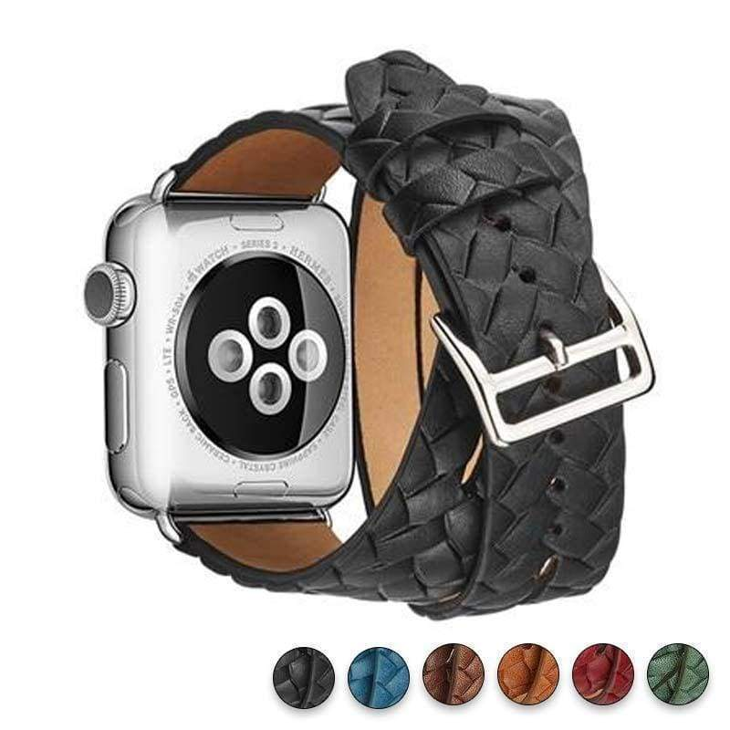Watches Black / 38mm/42mm Leather Loop For Apple watch band 44mm/ 40mm/ 42mm/ 38mm iWatch strap Series 1 2 3 4 wrist bands Bracelet belt Double Tour watchband, USA Fast Shipping