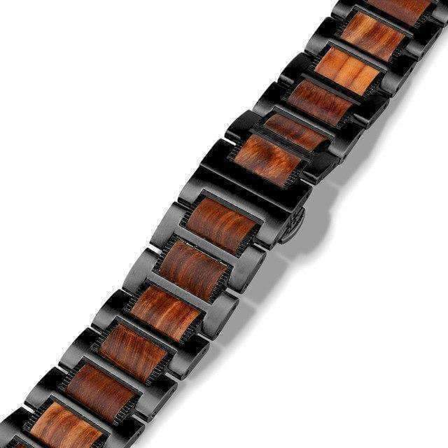 Watches Black / 42mm / 44mm Apple Watch Series 5 4 3 2 Band, Natural Red Sandalwood Stainless Steel Bracelet Wooden Strap 38mm, 40mm, 42mm, 44mm - US Fast shipping