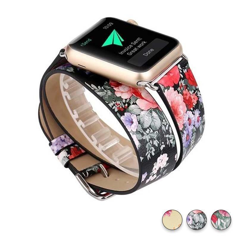 Watches Black Floral / 38mm/40mm Leather strap For Apple Watch band 44mm/ 40mm/ 42mm/ 38mm double tour iwatch Series 1 2 3 4 Flower print, USA Fast Shipping