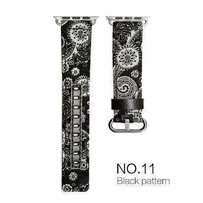 Watches Black white with black leather / 38mm/40mm Denim Apple Watch Band 44mm/ 40mm/ 42mm/ 38mm New Upscale Luxury Original Genuine Leather Fabric Denim 1:1 for iwatch Series 1 2 3 4 Strap
