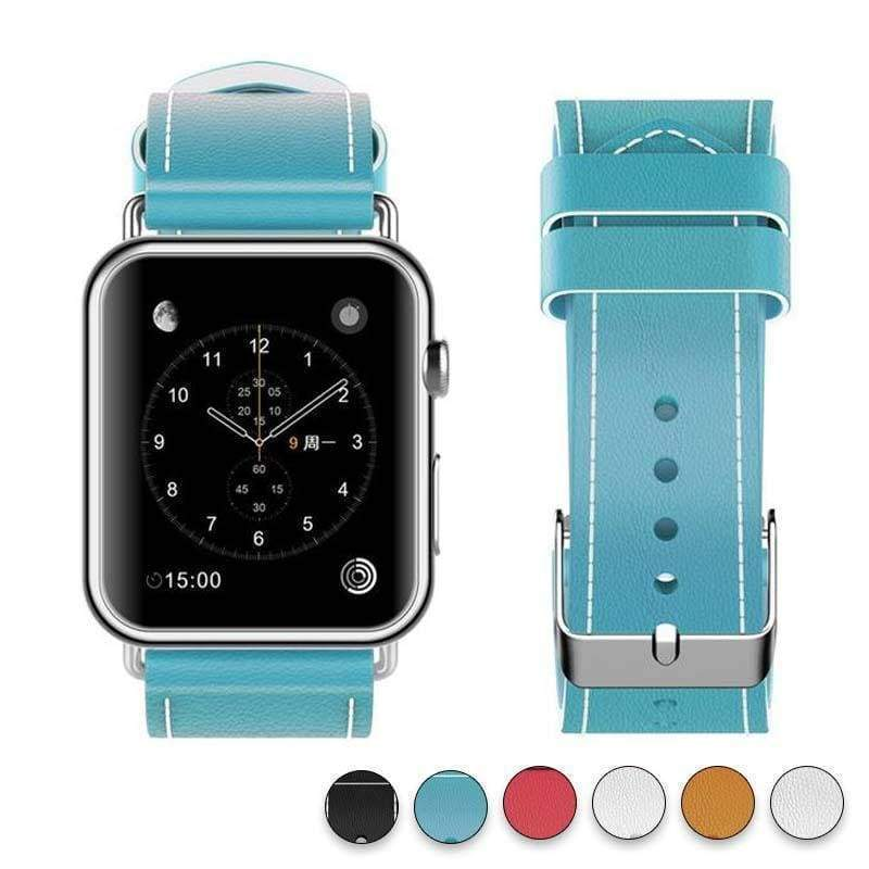Watches Blue / 38mm/40mm New Fashion Watchband for Apple Watch Band 44mm/ 40mm/ 42mm/ 38mm Watchband Genuine Leather Belt for Iwatch Series 1 2 3 4 Strap Leather
