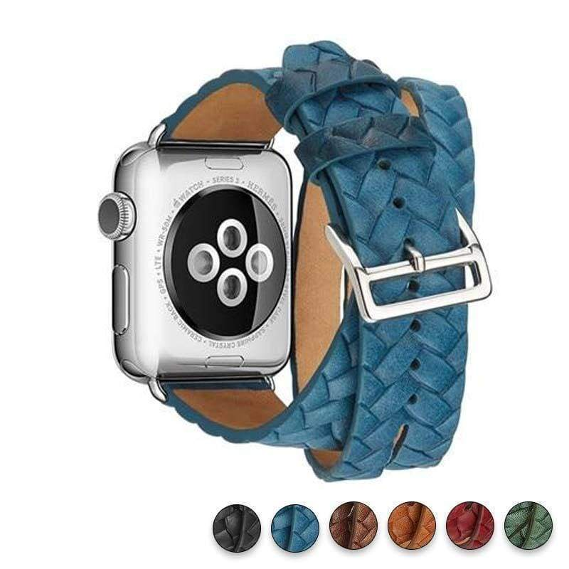 Watches Blue / 38mm/42mm Leather Loop For Apple watch band 44mm/ 40mm/ 42mm/ 38mm iWatch strap Series 1 2 3 4 wrist bands Bracelet belt Double Tour watchband, USA Fast Shipping