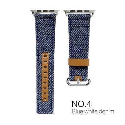 Watches Blue with brown leather / 38mm/40mm Denim Apple Watch Band 44mm/ 40mm/ 42mm/ 38mm New Upscale Luxury Original Genuine Leather Fabric Denim 1:1 for iwatch Series 1 2 3 4 Strap