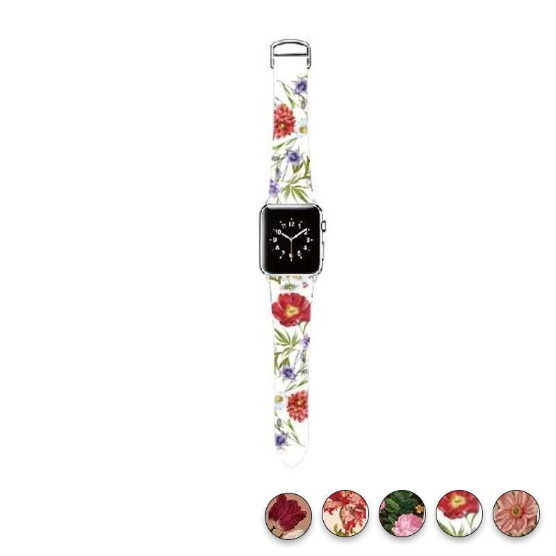 watches Bright White / 38mm/40mm Original Design Trend Print Leather Band for iwatch Strap Series 1 2 3 4 Flower Design Wrist Watch Bracelet for Apple Watch Band 44mm/ 40mm/ 42mm/ 38mm