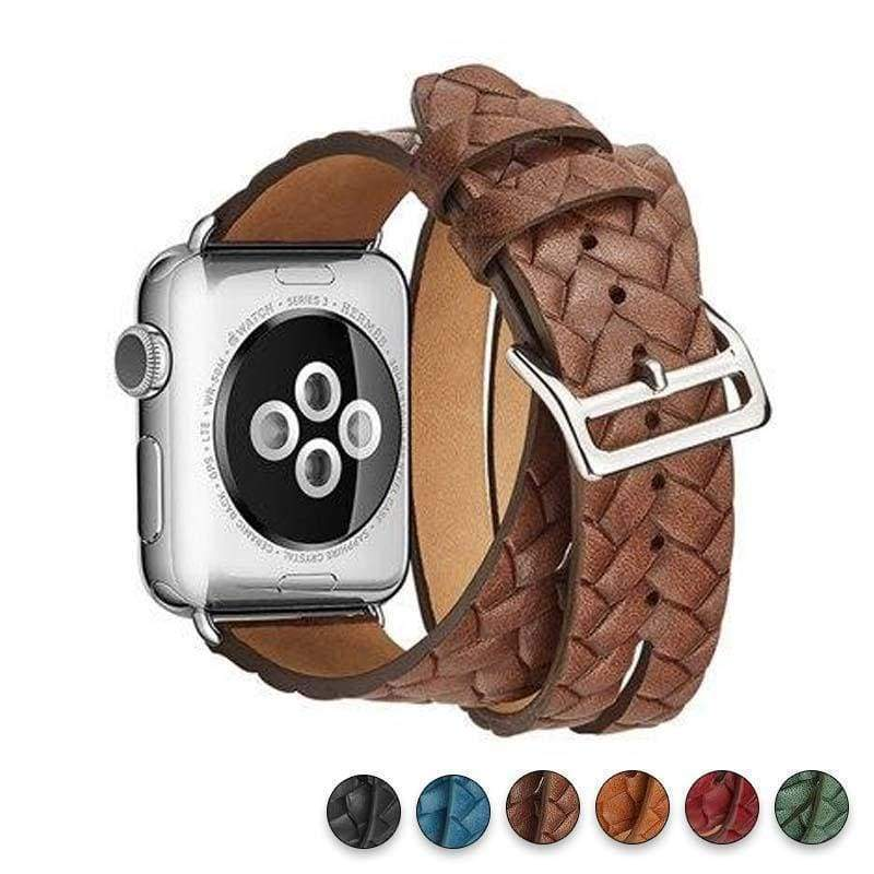 Watches Brown / 38mm/42mm Leather Loop For Apple watch band 44mm/ 40mm/ 42mm/ 38mm iWatch strap Series 1 2 3 4 wrist bands Bracelet belt Double Tour watchband, USA Fast Shipping