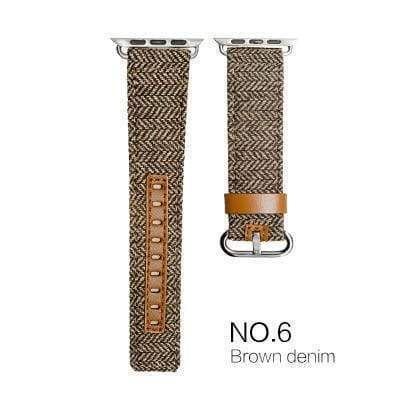 Watches Brown with brown leather / 38mm/40mm Denim Apple Watch Band 44mm/ 40mm/ 42mm/ 38mm New Upscale Luxury Original Genuine Leather Fabric Denim 1:1 for iwatch Series 1 2 3 4 Strap