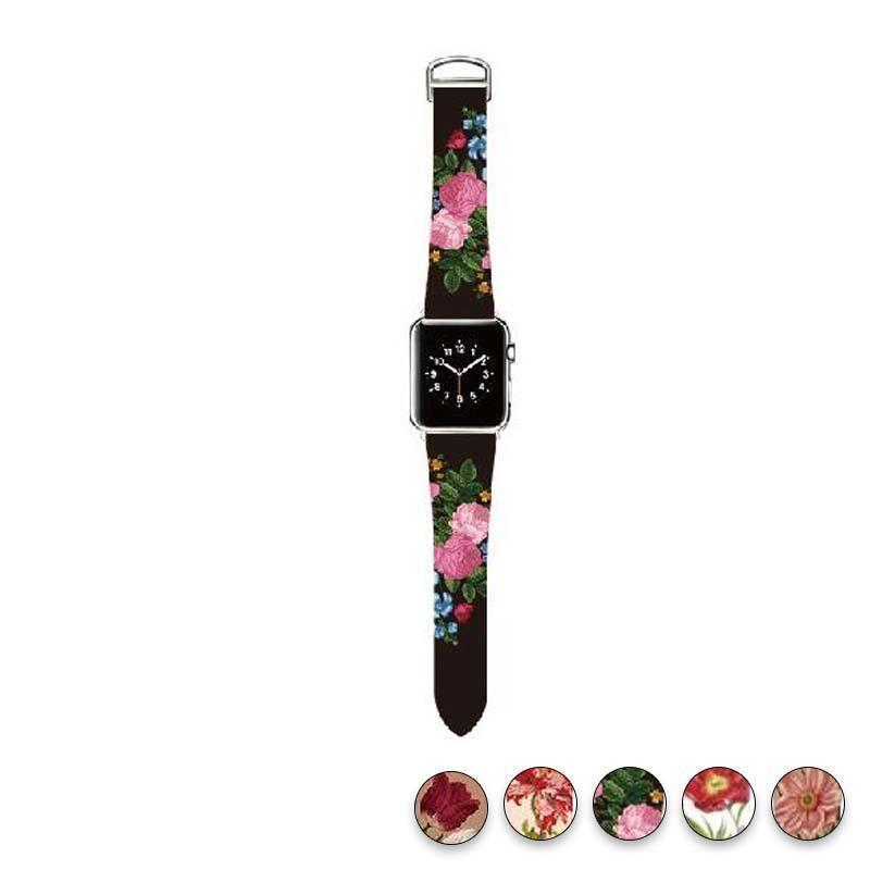 watches Chrysanthemum / 38mm/40mm Original Design Trend Print Leather Band for iwatch Strap Series 1 2 3 4 Flower Design Wrist Watch Bracelet for Apple Watch Band 44mm/ 40mm/ 42mm/ 38mm