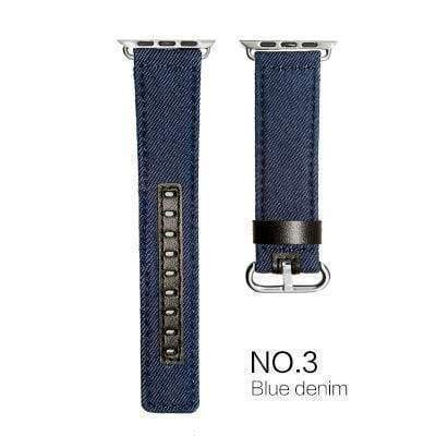Watches Dark blue with black leather / 38mm/40mm Denim Apple Watch Band 44mm/ 40mm/ 42mm/ 38mm New Upscale Luxury Original Genuine Leather Fabric Denim 1:1 for iwatch Series 1 2 3 4 Strap