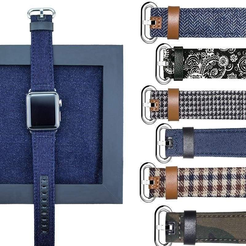 Watches Denim Apple Watch Band 44mm/ 40mm/ 42mm/ 38mm New Upscale Luxury Original Genuine Leather Fabric Denim 1:1 for iwatch Series 1 2 3 4 Strap
