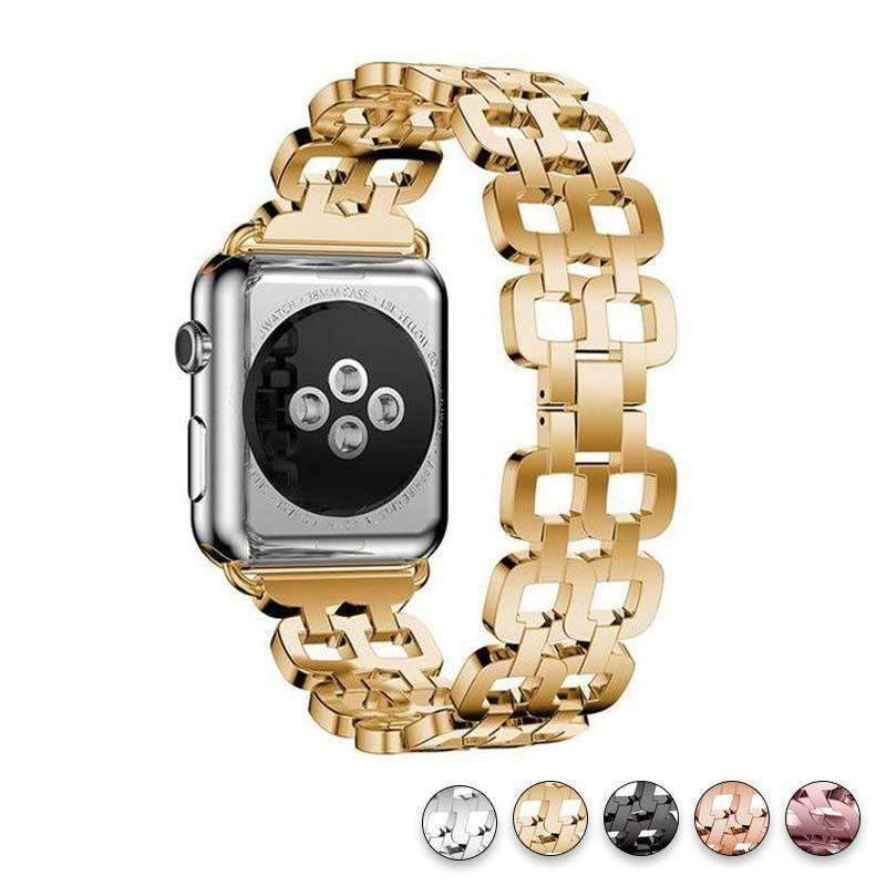 Watches Gold / 38mm / 40mm Apple Watch Series 5 4 3 2 Band, Luxury Metal Strap stainless Steel Link Bracelet Wrist Bands 38mm, 40mm, 42mm, 44mm - US Fast Shipping