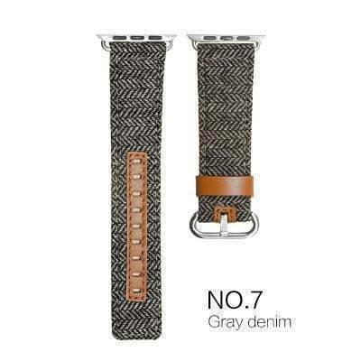 Watches Gray with brown leather / 38mm/40mm Denim Apple Watch Band 44mm/ 40mm/ 42mm/ 38mm New Upscale Luxury Original Genuine Leather Fabric Denim 1:1 for iwatch Series 1 2 3 4 Strap