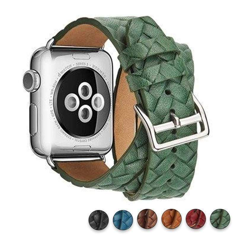 Watches Green / 38mm/42mm Leather Loop For Apple watch band 44mm/ 40mm/ 42mm/ 38mm iWatch strap Series 1 2 3 4 wrist bands Bracelet belt Double Tour watchband, USA Fast Shipping