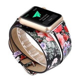 Watches Leather strap For Apple Watch band 44mm/ 40mm/ 42mm/ 38mm double tour iwatch Series 1 2 3 4 Flower print, USA Fast Shipping