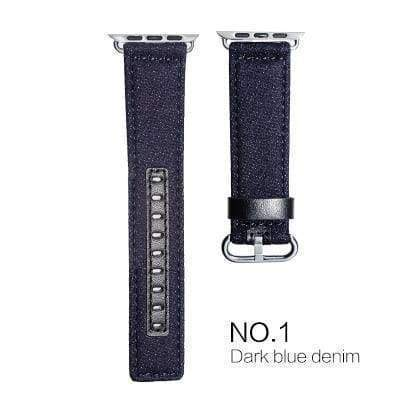 Watches Midnight blue with black leather / 38mm/40mm Denim Apple Watch Band 44mm/ 40mm/ 42mm/ 38mm New Upscale Luxury Original Genuine Leather Fabric Denim 1:1 for iwatch Series 1 2 3 4 Strap