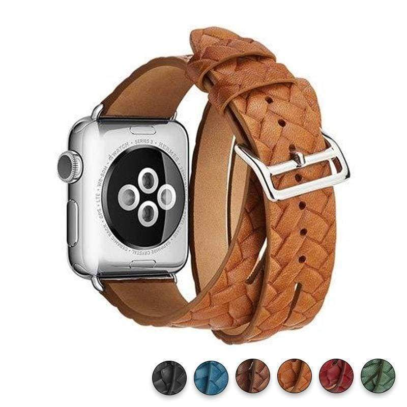 Watches Orange / 38mm/42mm Leather Loop For Apple watch band 44mm/ 40mm/ 42mm/ 38mm iWatch strap Series 1 2 3 4 wrist bands Bracelet belt Double Tour watchband, USA Fast Shipping