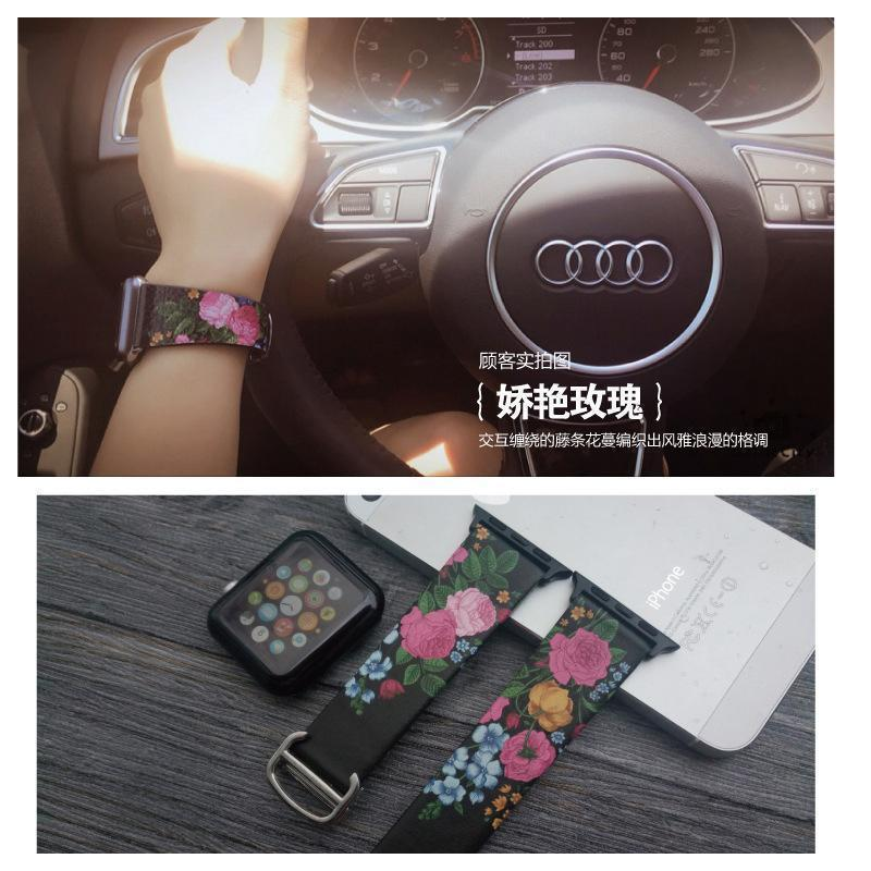 watches Original Design Trend Print Leather Band for iwatch Strap Series 1 2 3 4 Flower Design Wrist Watch Bracelet for Apple Watch Band 44mm/ 40mm/ 42mm/ 38mm