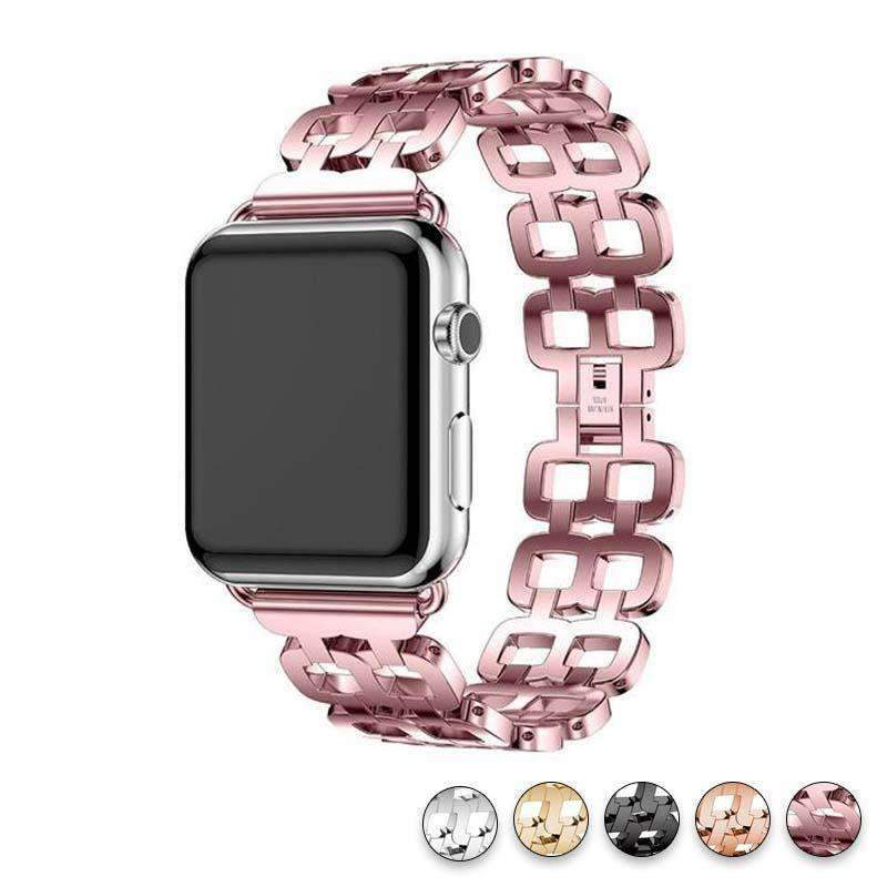 Watches Pink / 38mm / 40mm Apple Watch Series 5 4 3 2 Band, Luxury Metal Strap stainless Steel Link Bracelet Wrist Bands 38mm, 40mm, 42mm, 44mm - US Fast Shipping