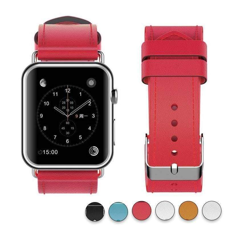 Watches Red / 38mm/40mm New Fashion Watchband for Apple Watch Band 44mm/ 40mm/ 42mm/ 38mm Watchband Genuine Leather Belt for Iwatch Series 1 2 3 4 Strap Leather