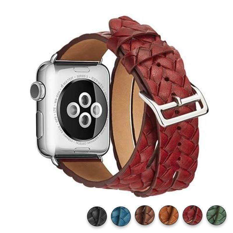 Watches Red / 38mm/42mm Leather Loop For Apple watch band 44mm/ 40mm/ 42mm/ 38mm iWatch strap Series 1 2 3 4 wrist bands Bracelet belt Double Tour watchband, USA Fast Shipping